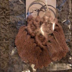 Boho tan woven earrings